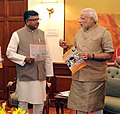 "Narendra Modi with the Union Minister for Communications & Information Technology, Shri Ravi Shankar Prasad, at the launch of ""Jeevan Pramaan"" – an ""Aadhar-based Digital Life Certificate"" for pensioners, in New Delhi.jpg"