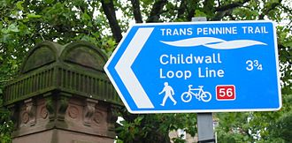 Trans Pennine Trail - National Cycle Network sign in Liverpool