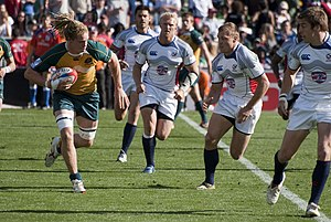Matt Hawkins - Hawkins, pictured center, playing with the USA Sevens team in 2009