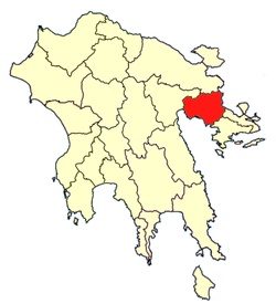 Location of Nafplia Province