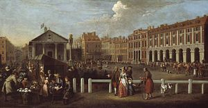 Covent Garden piazza and market in 1737. Paint...