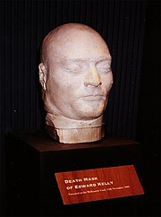 Ned Kelly's death mask in the Old Melbourne Gaol
