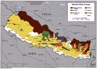 Chhetri - Selected ethnic groups of Nepal; Chhetri are members of the wider Pahari community (yellow).