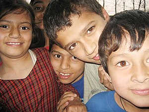 Demographics of Nepal - Nepali children excited towards camera