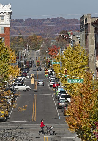 Floyd County, Indiana - Pearl Street in downtown New Albany. The Knobs can be seen in the distance.