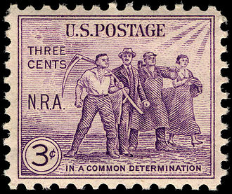 National Recovery Administration - Commemorative stamp issued by the U.S. Post Office on August 15, 1933