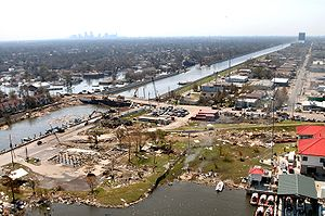 Climate resilience - New Orleans post Hurricane Katrina levee damage.