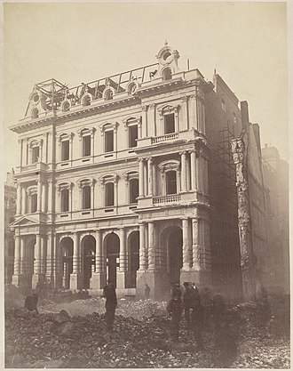 United States Post Office and Sub-Treasury Building (Boston) - Image: New post office, Milk St., after the Great Boston Fire of 1872
