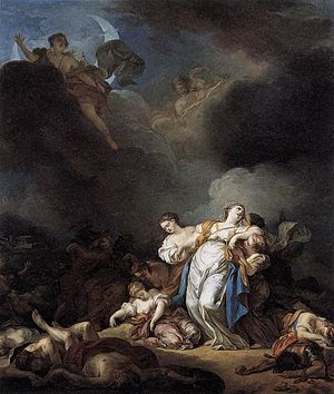 Anicet Charles Gabriel Lemonnier - Niobe and her children killed by Apollo and Artemis, by Lemonnier