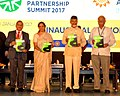 Nirmala Sitharaman, the Union Minister for Civil Aviation, Shri Ashok Gajapathi Raju Pusapati and the Chief Minister of Andhra Pradesh, Shri. N. Chandrababu Naidu releasing the Make in India Magazine.jpg