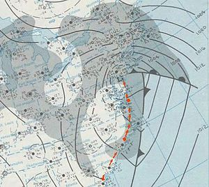 December 1969 nor'easter - Surface weather analysis of the nor'easter, with its track highlighted in red