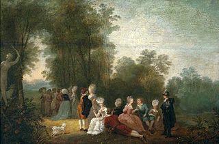 Zebranie towarzyskie w parku pod posągiem Diany