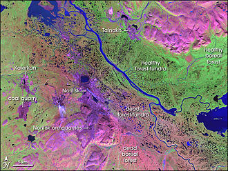 Nornickel - False-color satellite image of Norilsk and the surrounding area