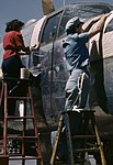 North American B-25 bomber is prepared for painting on the outside assembly line (cropped).jpg