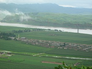 Yalu River - North Korean village in the Yalu River delta
