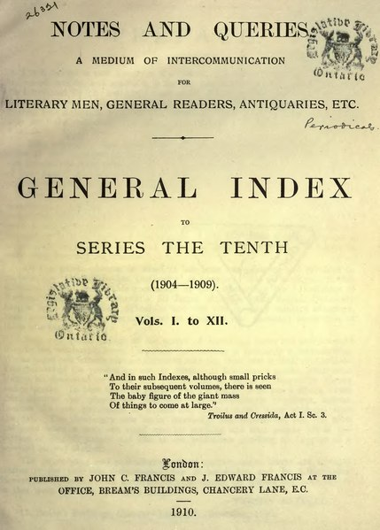 File:Notes and Queries - Series 10 - General Index.djvu