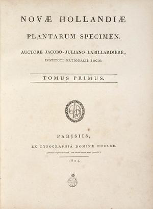 Novae Hollandiae Plantarum Specimen - Title page