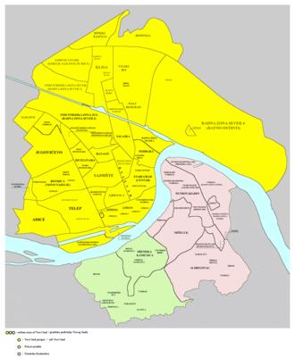 Neighborhoods and suburbs of Novi Sad - Map of the urban area of Novi Sad with city quarters