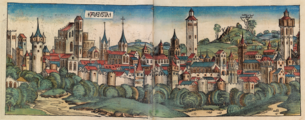 Panorama of Augsburg, 1493 Nuremberg chronicles - Augusta vendilicorum.png