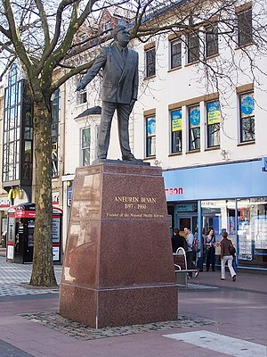 English: Nye Bevan in Cardiff Queen Street The...