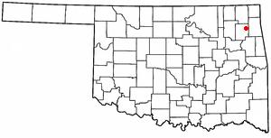 Spavinaw, Oklahoma - Image: OK Map doton Spavinaw