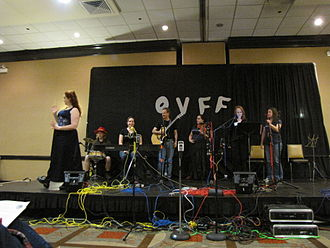 Pegasus Award - Mary Crowell and others on stage at Ohio Valley Filk Fest 2012.