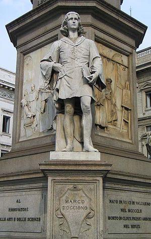 Marco d'Oggiono - Figure of Marco d'Oggiono at the pedestal of Leonardo da Vinci monument. Milan, Piazza della Scala. Sculptor Pietro Magni