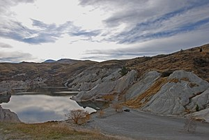 Otago Gold Rush - Image: Old gold workings, St. Bathans, Otago, New Zealand