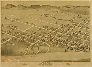 Bastrop, Texas - Map of city in 1887