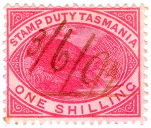 Stamp duty - A Stamp Duty revenue stamp of Tasmania from 1892.