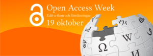 Open Access Week - A web banner (in Swedish) for a Wikipedia edit-a-thon during Open Access Week 2015