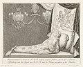 Opgebaarde lijk van prinses Anna, 1759 Representation du Corps de S.A.R. (..) Afbeelding van het Lyck van H.K.H. nae de Natuur geteykent op het Praalbed (titel op object) Praalbed van prinses Anna (serietitel), RP-P-OB-84.516.jpg