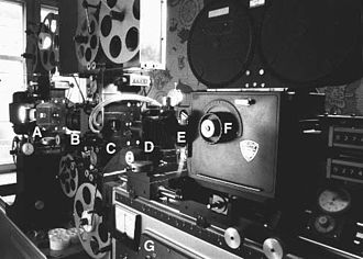 Optical printer - A 35 mm optical printer with two projector heads, used in producing movie special effects. Starting from the left, light is shining from the lamp house, then at A is the first projector's film gate, at B a lens that projects the film in A onto the second projector's gate C. At D is the lens of the camera, the camera's finder is at E and the adjustable shutter control at F. The heavy base G contains all the electronics needed for controlling the printer.