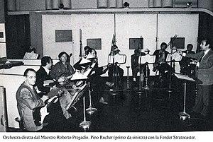 Roberto Pregadio - The RAI Orchestra directed by Master Roberto Pregadio (first from right)
