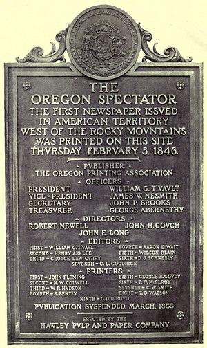 Oregon Spectator - Image: Oregon Spectator tablet
