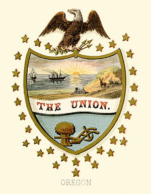 Seal of Oregon - Oregon state historical coat of arms (illustrated, 1876)