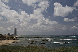 Orot Rabin seen from Caesarea Maritima.jpg