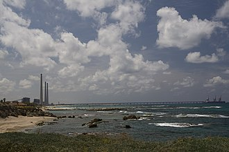 Orot Rabin - Orot Rabin power plant and its coal pier, viewed from Caesarea Maritima