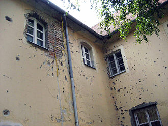 Battle of Osijek - Partially repaired bombardment damage in Osijek