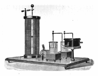 Analogue filter - A 1915 example of an early type of resonant circuit known as an Oudin coil which uses Leyden jars for the capacitance.