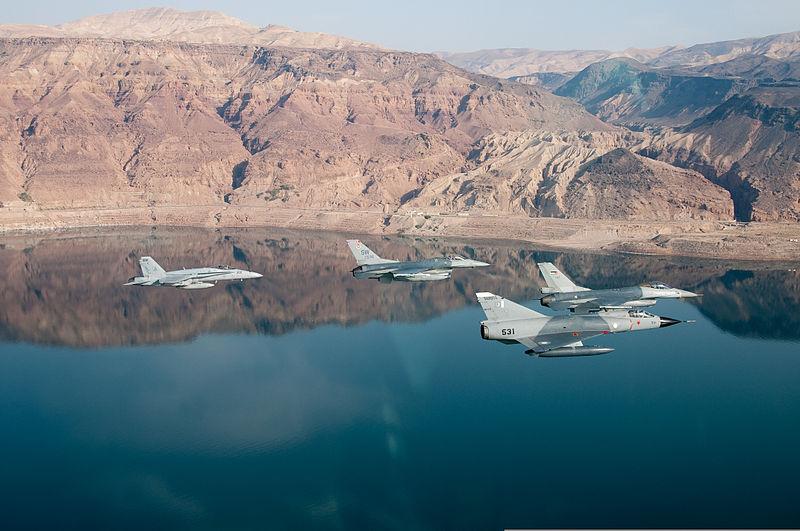 PAF Mirage III ROSE - USN F-18 - USAF and RJAF F-16 - side view.jpg