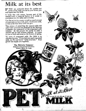 Pet, Inc. - 1921 ad for the PET milk product.