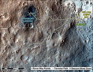 Glenelg, Mars - Image: PIA17085 Mars Curiosity Rover Traverse Map Sol 351 20130801
