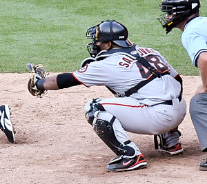 Pablo Sandoval - Sandoval catching for the San Francisco Giants.