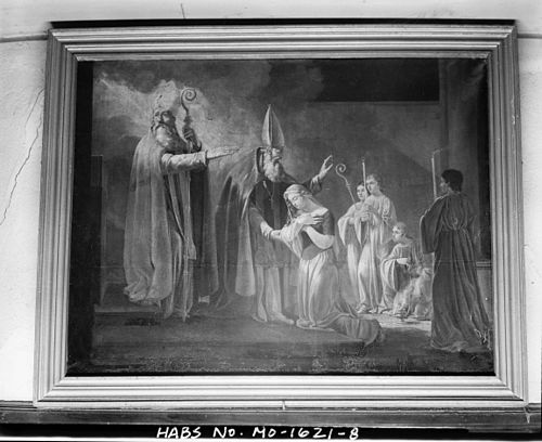 The consecration of Saint Genevieve, 1821 (Ste. Genevieve, Missouri). Painting of Ste Genevieve in the Church of Ste Genevieve in Ste Genevieve MO.jpg