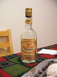 A bottle of apricot Hungarian Pálinka.