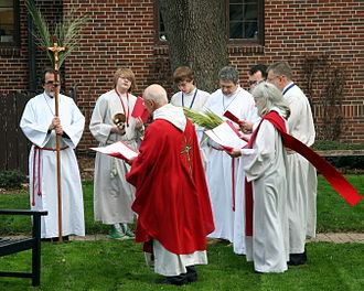 Sacramental - A Palm Sunday photo of the blessing of palms, a sacramental in Christianity