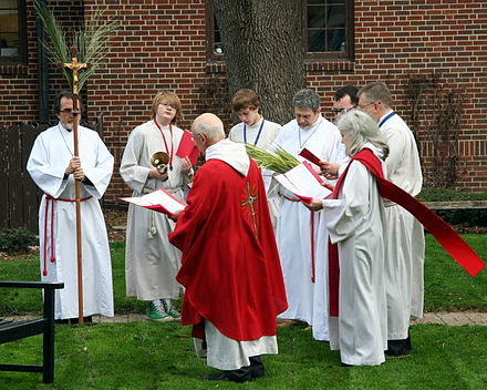 Blessing of palms outside an Episcopal Church in the United States. PalmSunday.jpg