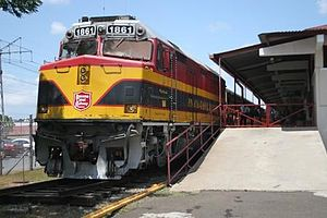 Panama Canal Railway locomotive sits in a stat...