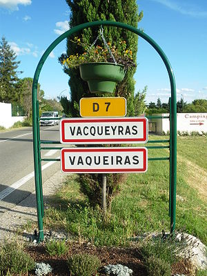Communes of France - Vacqueyras in Provence, showing double French/ Provençal name